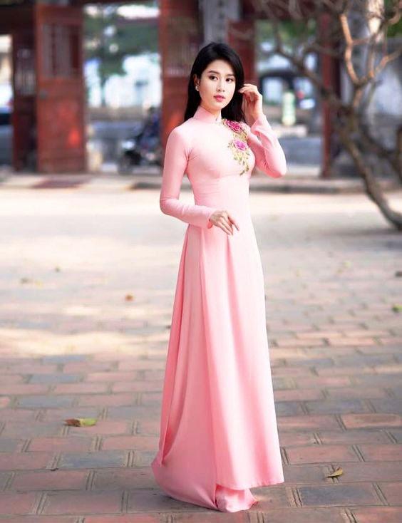 áo dài cổ trụ cao đẹp
